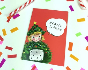 Nadolig Llawen Welsh Text Merry Christmas Retro Red Christmas Tree Girl Eco Friendly Greeting Card