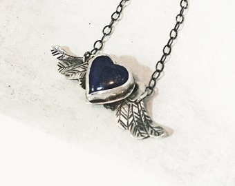 Flying Heart Necklace // Lapis Lazuli and Sterling Silver