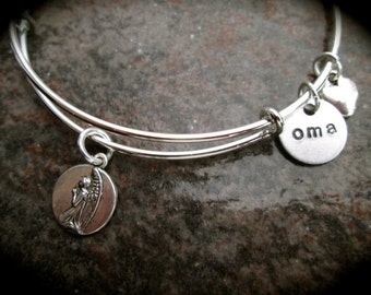 German Oma adjustable bangle bracelet with Angel and heart charms  reverses to German saying German Grandmother bracelet