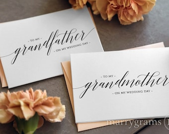 Wedding Card to Your Grandparents - Grandparent of the Bride or Groom Cards, Grandmother, Grandfather On My Wedding Day Thank You Note CS13