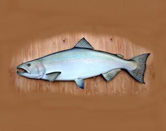 CHINOOK SALMON fish wood carving, 38'', fishing gift, fly fishing art, king salmon. fish art, Fathers day gift, fishing decor, wall art,