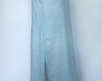 Linen nightdress blue nightwear night gowns