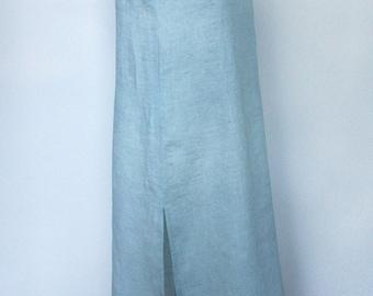 Linen nightdress blue nightwear night gowns