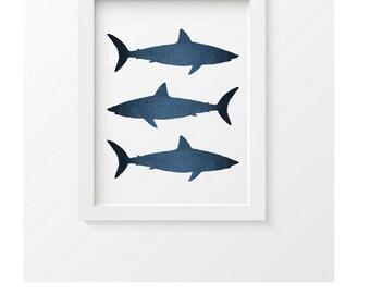 Shark Art Print, Coastal Wall Decor, Shark Print, Beachhouse wall decor