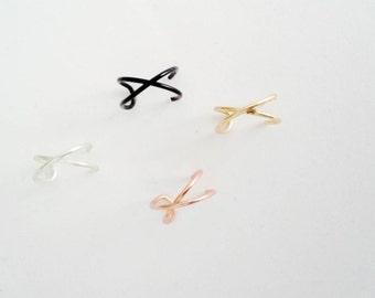 Faux piercing Crossed wire Ear cuff  earring, Silver conch ear wrap, X helix earringjewelry,earcuff, cartilage cuff earring