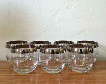 Vintage Mad Men Roly Poly Glasses Set Of 7  Silver Band Silver Rim Large Whiskey Dorothy Thorpe Style Mid Century Glasses