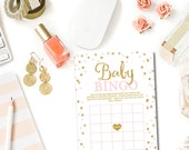 Pink and Gold Baby Shower Bingo Game, Baby Bingo Baby Shower Games Glitter Confetti Pink Baby Girl Shower Game Print Instant Download BB1