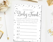 Baby Shower Guess The Baby Food Game, Printable Baby Shower Games, Guess The Baby Food Game, Silver White Boy Shower, Instant Download BB2