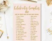 Pink and Gold Bridal Shower Games, Celebrity Couples Quiz Bridal Shower Game Printable Celebrity Couples Game Instant Download BR17