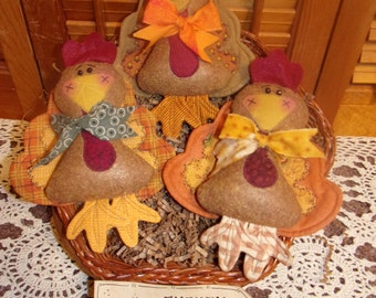 Primitive Whimsical Country Fall Thanksgiving TURKEY Dolls Tucks Bowl Basket Fillers Ornaments Ornies