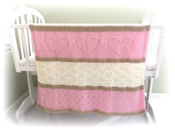 Knitting Pattern For Bassinet Blanket : Baby Blanket Pattern Knit Baby Blanket by DeborahOLearyPattern