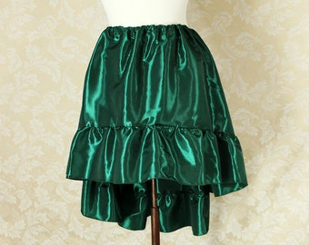 """Steampunk High Low Mini Cecilia Skirt -- Forest Green Taffeta -- Ready to Ship -- Best Fits Up To 48"""" Waist"""