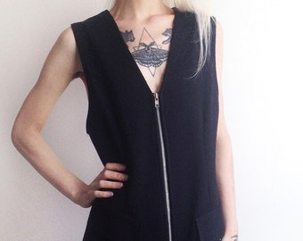 90s Black Zipper Mini Dress