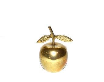 Brass Apple Bell Vintage Brass Apple Brass Apple Figurine Brass Bell Teachers Gift