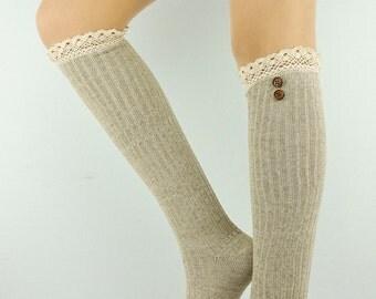 Beige Leg warmers Legwarmers Women's Leg warmer Socks Women's Socks Knit Leg Warmers Knitted Leg warmers Beige tall socks women's boot socks