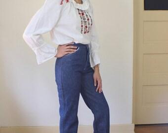 1970's DENIM / High Waist Denim Jeans / Extra Small Dark Wash / Straight Leg Vintage Pants