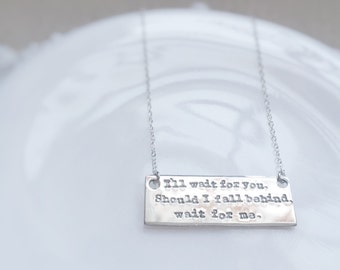 Personalized Love Quote Lyrics Anniversary Wedding Gift Sterling Silver Engraved Stamped Gift for Her Keepsake
