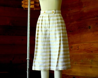 vintage Escada white and gold striped linen culottes / size medium