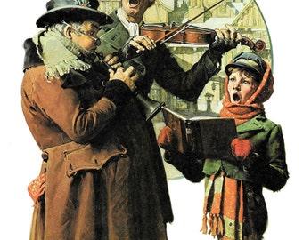 Norman Rockwell Christmas print We Sing Merrilie Holiday art print Caroling Singing Music Musicians Red Green Decor Vintage Americana