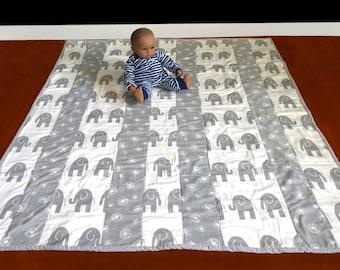 "Large Baby Playmat - White Grey Elephant, Grey Dandelion, 56"" x 47"" Ready to Ship"