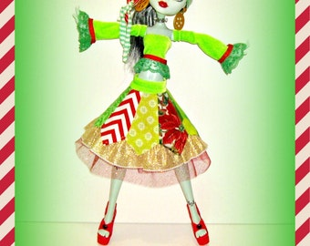 """Frankie Stein's """"Merry Medley"""" Holiday Doll Clothes, Handmade for 17"""" Monster High Doll, Gooliope & Friends, by traveller240"""
