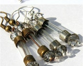 Antique Fuse Steampunk Earrings, Wearable Tech, Eco-friendly Glass Tubes, Silver ONLY, You Blow Blow Your Fuse When You've Fallen in Love.