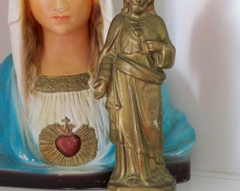 "Rare SACRED HEART  JESUS  5.5"" Vintage Early 1900's French Statue- Great for any collector"