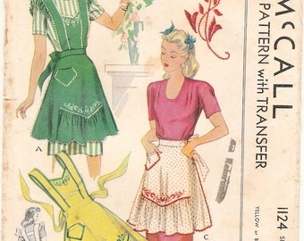 Beautiful Vintage 1940s McCall 1124 WWII Style Full Bib or Half Apron with Embroidery Sewing Pattern B32 to B34