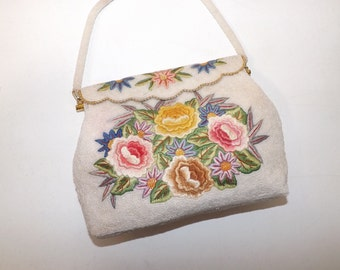 Vintage 1950s cream heavily beaded bead work hand embroidered flower floral evening handbag bag purse