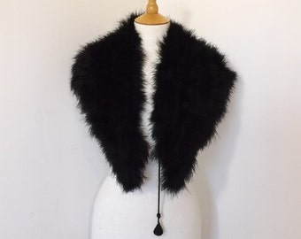 Vintage 1950s real black marabou feather feather stole large collar wrap