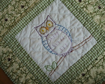 12 Embroidered Owls Quilt
