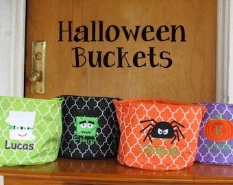 Halloween buckets, Kids trick or treat bag, Monogrammed Halloween bag
