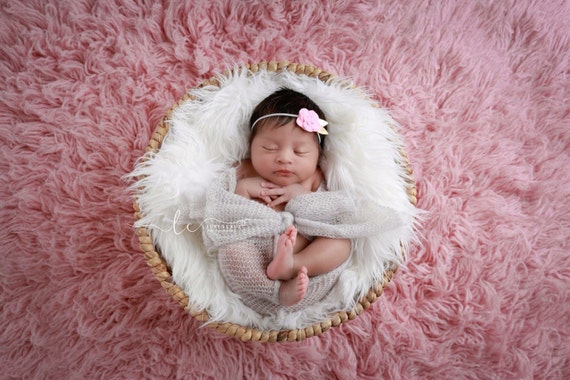 Soft grey stretch wrap and matching floral headband for newborn photo shoots, by Lil Miss Sweet Pea