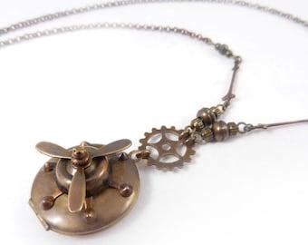 Steampunk Propeller Locket Necklace, Long Necklace, Spinning Propeller, Gear Necklace