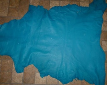 """Leather 37""""x27"""" Turquoise Cationic Finished Goatskin 7.5 sq ft Hide 2.25-2.5 oz / 0.9-1 mm #367 PeggySueAlso™"""
