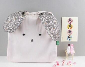 Easter bunny rabbit bag, Lunch bag, Rabbit bag, Japanese fabric bag, pastel pink bento bag, handmade nursery bag, toddler bag, kids bag