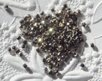 2mm Firepolish Beads 50 pieces Nickel Silver True 2mm Metallic Beadweaving Faceted
