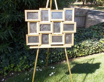 Gold Wedding Seating Chart With Easel Collage Frame Ornate Spring Summer Fall Winter Reception Decoration Hollywood Regency Home Decor Gift