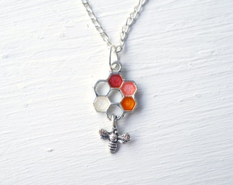 Red and Orange Painted Honey Bee Necklace // Honeycomb Necklace // Custom Colors