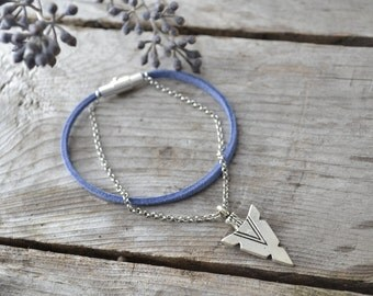 arrowhead chain bracelet // double stacking bracelet // leather magnetic bracelet // friendship bracelet