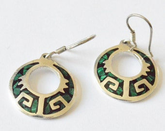 SALE Vintage Sterling Silver Taxco Artist Signed Malachite Inlaid Southwestern Style Pierced Dangle Earrings
