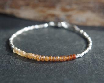Hill Tribe Silver and Hessonite Garnet ombre bracelet  **ONE SALE** Tiny bracelet - Delicate, minimalist bracelet - 7 inches long