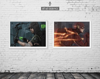 ARROW & FLASH - Oliver Queen / Green Arrow - Barry Allen / The Flash - Original Super Hero Art Poster Set