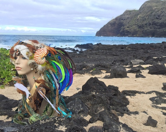 "Mermaid Nautilus Shell Headdress  - ""Namaka"" Halloween, Siren, Festival, Goddess, Fantasy, Costume,"