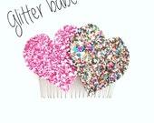 Super cute and sparkly glitter pastel hearts hair clip Kawaii pin up