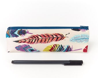 Back To School Gift Pencil Case in Bohemian Style Feather Fabric Small Zip Pouch Accessory Storage