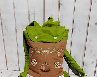 Olive green, and birds in green  and   quilted   kids backpack for todler