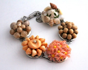 Peach Bracelet, Recycled Bracelet, Coral Bracelet, Upcycled Recycled Repurposed Jewelry, Earring Bracelet, Pantone Iced Coffee, Mothers Day