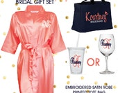 Bridal Gift Set - 7 Satin Robes,  7 Tote Bags,  10 Wine Glasses - Reserved for Beth (includes rush charge)