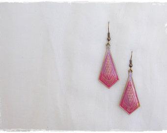 Yoga Tribal Earrings, Long Ombre Earrings, Kite Geometric Earrings, Brass Gypsy Earrings, Diamond Brass Earrings, Ethnic Minimal Earrings
